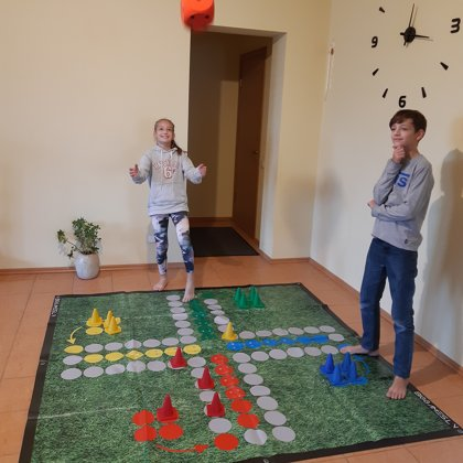 Family game. Ludo. Indoor game. Outside game.