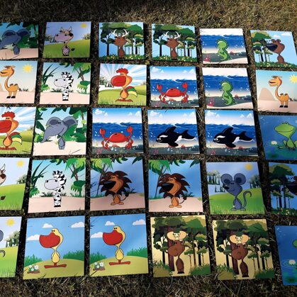 Large memory game. Garden games.